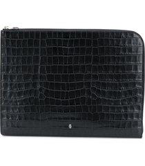 alexander mcqueen croc effect logo zip pouch - black