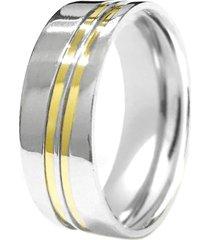 aliança prata mil prata reta diagonais de prata c/ filete de ouro prata