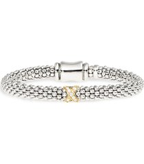 women's lagos caviar lux diamond x bracelet