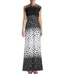 tadashi shoji women's polka dot ombré gown - black white - size 2