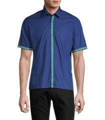 boss hugo boss men's short sleeve button front cotton shirt - blue - size m