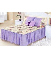 kit colcha (colcha + porta travesseiro) queen geovanna lilás estampa flores com 7 peças - aquarela - tricae