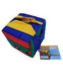 brinquedo educativo cubo de atividades em tecido jott play colorido