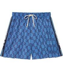 gucci gg technical jersey shorts - blue