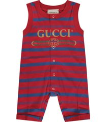 gucci red romper for baby boy with logo