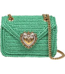 dolce & gabbana devotion shoulder bag in green raffia