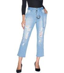 cropped jeans retrato falado bolso-faca azul