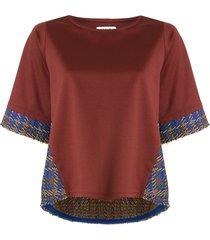 coohem madras tech tweed pullover - brown