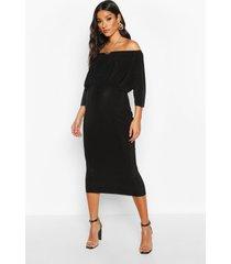 maternity bardot drape midi bodycon dress, black