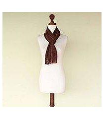 pima cotton scarf, 'brown riches' (peru)