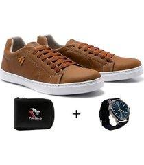 sapatênis polo north masculino casual + carteira + relógio - masculino
