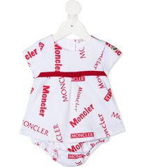 moncler enfant all-over logo print bodysuit - white