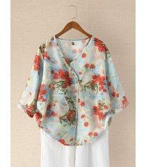 camicetta casual da donna con scollo a v stampato a fiori vintage