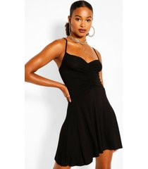 jersey ruched front strappy skater dress, black