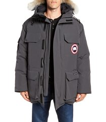 men's canada goose expedition down parka with genuine coyote fur trim, size x-large - grey