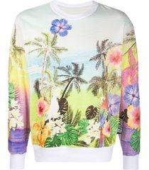 versace jeans couture tropical island print sweatshirt - blue