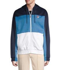 fila men's full-zip colorblock hoodie - blue - size xl