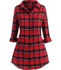 plus size plaid drop shoulder button up shirt