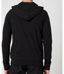 ps paul smith men's tape zip through hooded sweatshirt - black - xl