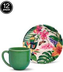 conjunto 12pçs xícaras de café porto brasil coup paradiso branco