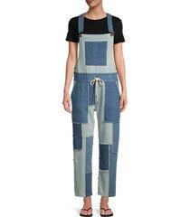 love moschino women's salopette patchwork overalls - blue - size 40 (6)