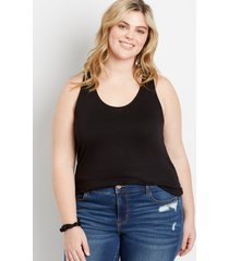 maurices plus size womens 24/7 black lace up back tank top