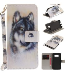 s8 plus case,galaxy s8 plus case,xyx [wolf][painted lanyard] pu leather wallet c