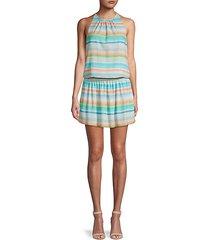 striped blouson dress