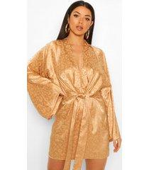 loshangende luipaardprint satijnen jaquard kimono, camel
