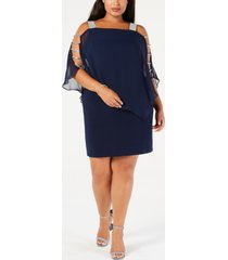 msk plus-size embellished chiffon-overlay dress