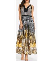 round leopard printed sleeveless maxi dress