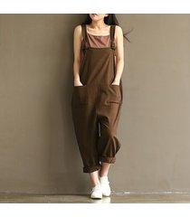 pantalones jumpsuit mono casual mujer -café