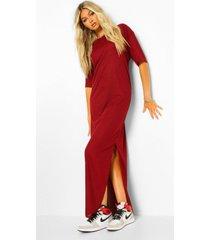 tall geribbelde maxi jurk met split, wijn