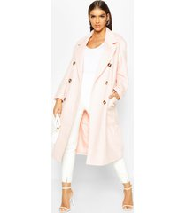 brushed double breasted belted wool look coat, rose