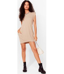 womens shoulder pad case of lovin' you jersey mini dress - stone
