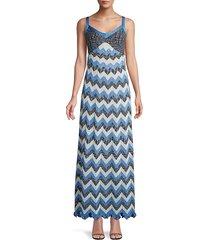 m missoni women's metallic chevron maxi dress - navy - size 46 (10)