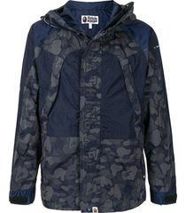 a bathing ape® panelled hooded lightweight jacket - blue