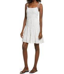 women's open edit double layer chiffon tiered mini dress, size x-small - white
