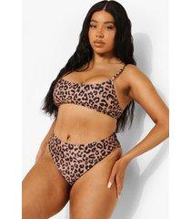 plus luipaardprint bikini top met lage ronde hals, brown