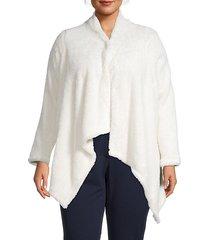 faux shearling high-low cardigan
