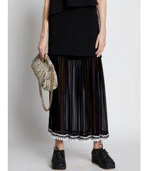 proenza schouler pieced chiffon crochet border skirt black multi 2