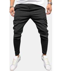 cerniera leggera leggera traspirante per uomo fashion stripe casual pantaloni