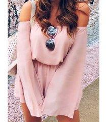 rosa fuera del hombro mangas largas trajes de cintura elásticos