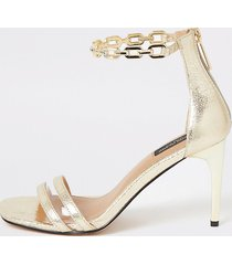 river island womens gold chain ankle wide fit heeled sandals
