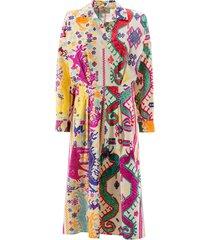 etro cotton animal pattern midi dress