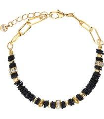 bracciale in ottone dorato e strass con elementi conchiglia neri per donna