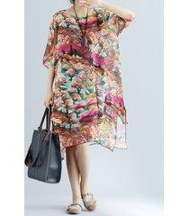 vestito da donna casuale floreale stampato a mezza manica irregolare a strati