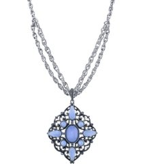 "2028 pewter tone lt. blue moonstone large filigree pendant necklace 16"" adjustable"