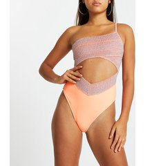 river island womens coral one shouldered wrap swimsuit