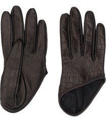 manokhi asymmetric hem embossed style gloves - black